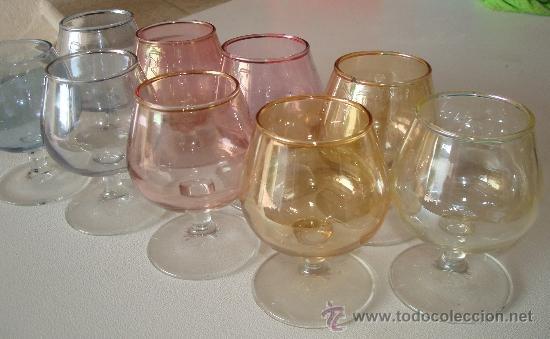 LOTE DE COPAS DE COGNAC O ANIS DE COLORES, VINTAGE. (Vintage - Decoración - Cristal y Vidrio)
