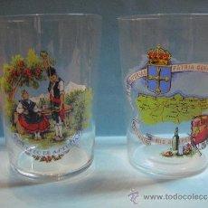 Vintage: PAREJA DE VASOS DE CRISTAL FINO ASTURIAS. PATRIA QUERIDA.. Lote 39225800
