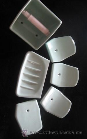 Conjunto accesorios ba o porcelana verde porta comprar for Accesorios bano porcelana