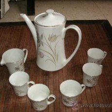 Vintage: RECOLETO JUEGO DE TE O CAFE MARCA PONTESA DE 7 PIEZAS DECORADAS Y SIN USO. Lote 34814432