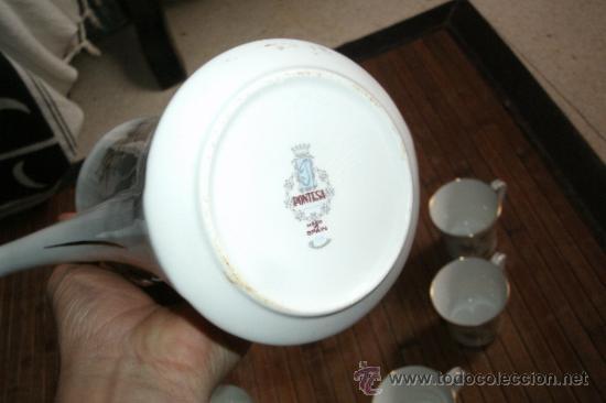 Vintage: RECOLETO JUEGO DE TE O CAFE MARCA PONTESA DE 7 PIEZAS DECORADAS Y SIN USO - Foto 10 - 34814432