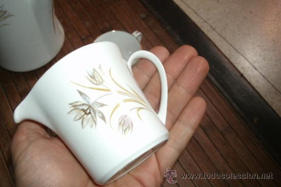 Vintage: RECOLETO JUEGO DE TE O CAFE MARCA PONTESA DE 7 PIEZAS DECORADAS Y SIN USO - Foto 7 - 34814432