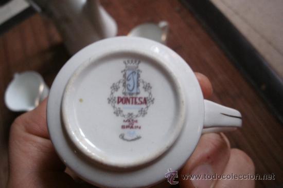 Vintage: RECOLETO JUEGO DE TE O CAFE MARCA PONTESA DE 7 PIEZAS DECORADAS Y SIN USO - Foto 5 - 34814432