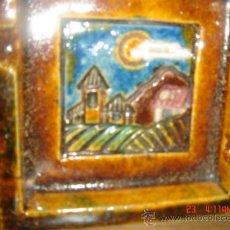 Vintage: CENICERO DE CERÁMICA, DECORADO A MANO CON UN PRECIOSO PAISAJE, AÑOS 80. Lote 35375532