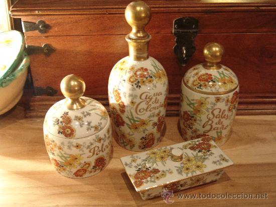JUEGO DE TOCADOR DE PORCELANA HISPANIA (Vintage - Decoración - Porcelanas y Cerámicas)