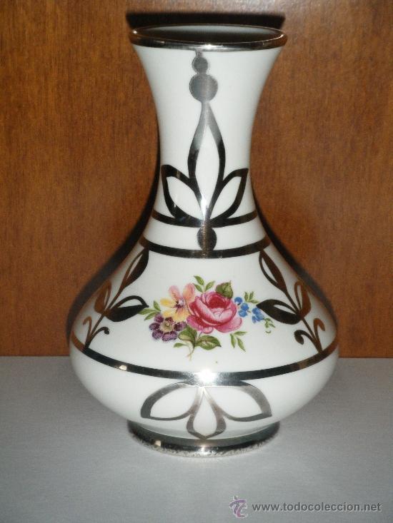 jarrn de porcelana decorado en plata artlynsa aos 80 - Jarrones Decorados