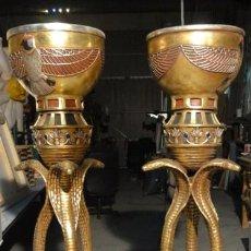 Vintage: PAREJA VASIJAS FLOREROS EGIPCIOS EN RESINA 171 CM ALTURA. Lote 36461551