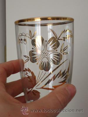Juego De 4 Vasos De Fino Cristal Decorado Con Oro Motivos Florales Fábrica Alvarez