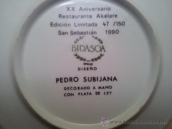 Vintage: Plato ceramica Bidasoa decorado en plata y firmado por el prestigioso chef Pedro Subijana - Foto 3 - 36587444