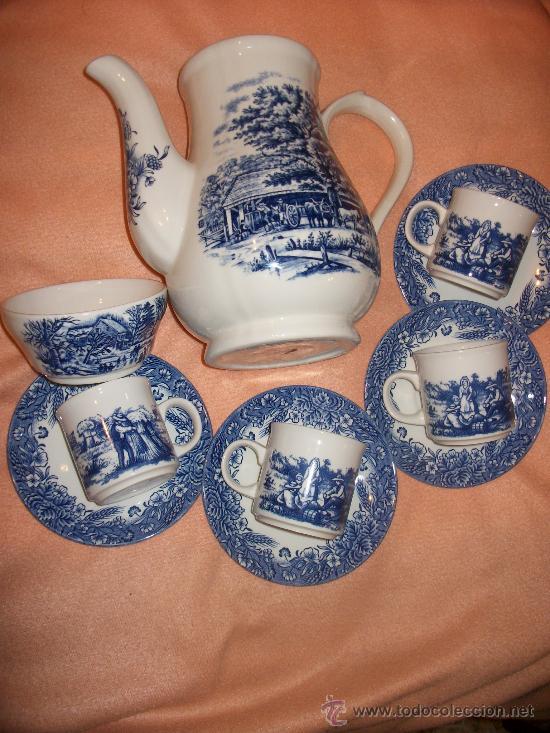 JUEGO DE CAFE CHURCHILL - TETERA / CAFETERA SIN TAPA + AZUCARERO + 4 TAZAS CON PLATO (Vintage - Decoración - Porcelanas y Cerámicas)