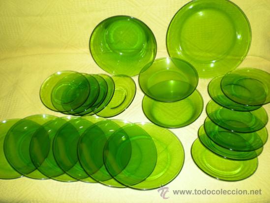antigua vajilla de duralex color verde a os 60 comprar