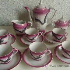 Vintage: JUEGO DE CAFÉ O TÉ JAPONES SATSUMA DE 6 SERVICIOS, PORCELANA EN RELIEVE ROSA. Lote 37204116