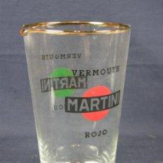 Vintage: VASO PARA CÓCTEL PUBLICIDAD DE MARTINI VERMOUTH SECO Y ROJO, FILO DORADO EN BOCA AÑOS 50-60 15,5 CM. Lote 95509535