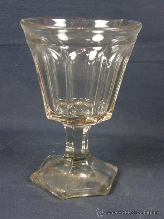 VASO COPA FRANCÉS PPIOS SIGLO XX SOPLADO EN MOLDE DESPORTILLADO EN BOCA (Vintage - Decoración - Cristal y Vidrio)