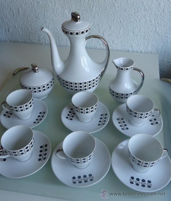 JUEGO DE CAFE ALGIROS PORCELANA VALENCIA AÑOS 70S DISEÑO VINTAGE DECORACIÓN PLATA (Vintage - Decoración - Porcelanas y Cerámicas)