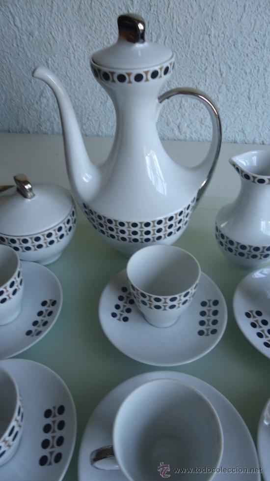 Vintage: Juego de cafe ALGIROS porcelana Valencia años 70s diseño vintage decoración plata - Foto 2 - 37556943