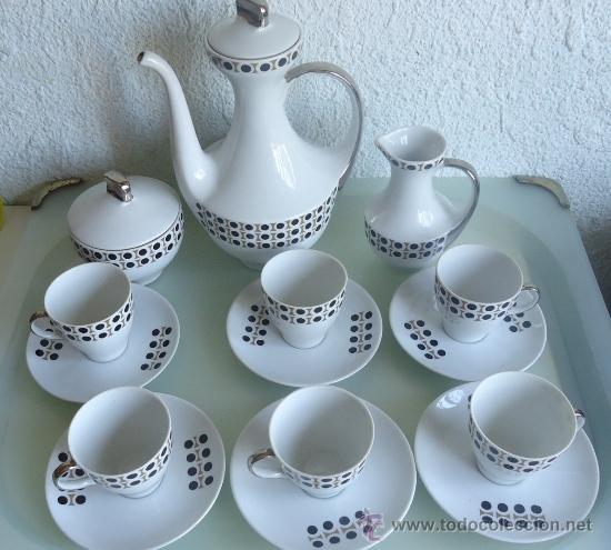 Vintage: Juego de cafe ALGIROS porcelana Valencia años 70s diseño vintage decoración plata - Foto 3 - 37556943