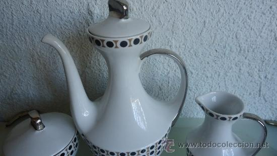 Vintage: Juego de cafe ALGIROS porcelana Valencia años 70s diseño vintage decoración plata - Foto 4 - 37556943