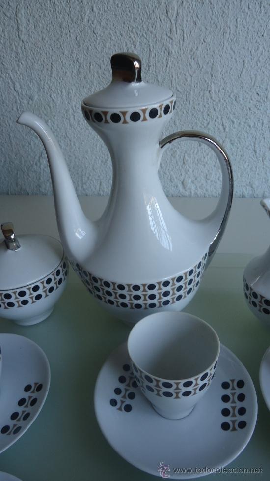 Vintage: Juego de cafe ALGIROS porcelana Valencia años 70s diseño vintage decoración plata - Foto 5 - 37556943