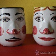 Vintage: JARRAS DE CERÁMICA - CABEZAS DE MUJER Y HOMBRE - BARRO - 1973. Lote 38114467