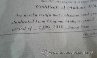 Vintage: ANTIGUO JARRÓN CHINO DE LA DINASTÍA TUNG CHIH - PERIODO CHING (1862-1875) A.D.CON CERTIFICADO ,repro - Foto 22 - 38341684