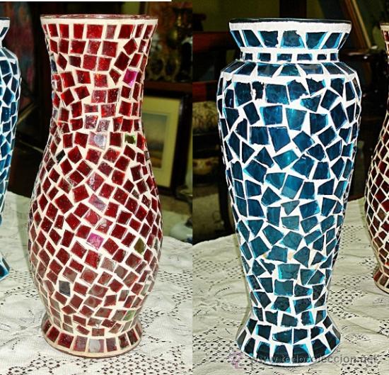 lote dos jarrones de cristal con cristales