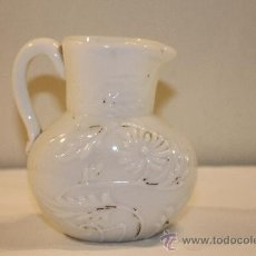 Vintage: JARRITA EN OPALINA BLANCA - MOTIVO FLORAL - SIGLO XIX. Lote 38539134