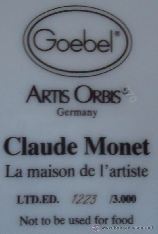 Vintage: PLATO DE PORCELANA GOEBEL GERMANY - LA MAISON DE L´ARTISTE -CLAUDE MONET - Foto 6 - 38774388