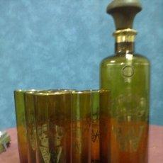Vintage: BOTELLA Y 6 VASOS CRISTAL AMBAR ORO VINTAGE. Lote 38783093