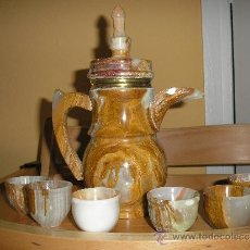 Vintage: JUEGO DE CAFE EN MARMOL ARABE MAS FOTOS EN EL INTERIOR. Lote 38923678