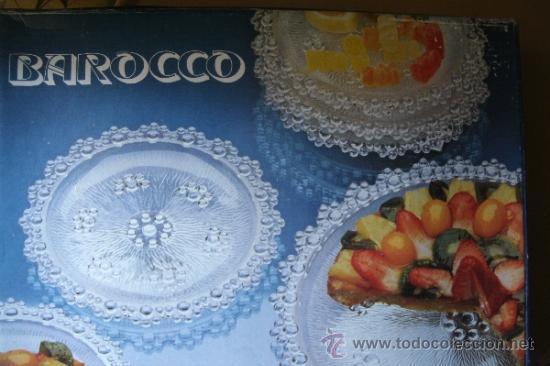 JUEGO EN CRISTAL DE FUENTE + 6 PLATOS DE LA MARCA ITALIANA BAROCCO A. MASSERINI ABBIATEGRASSO (Vintage - Decoración - Cristal y Vidrio)