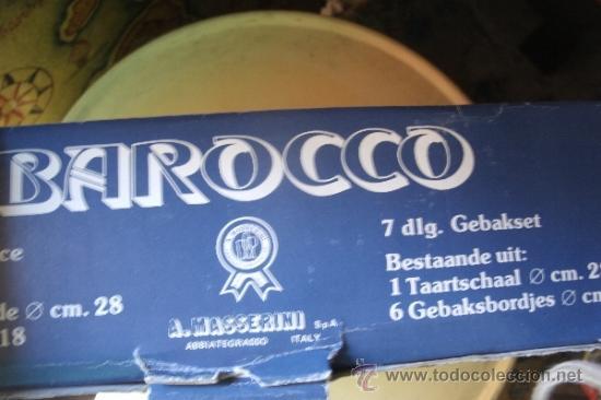 Vintage: JUEGO EN CRISTAL DE FUENTE + 6 PLATOS DE LA MARCA ITALIANA BAROCCO A. MASSERINI ABBIATEGRASSO - Foto 2 - 39241307
