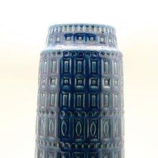 Vintage - Gran jarrón alemán de cerámica vidriada color azul, años 60. - 43969693