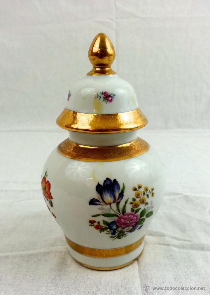 TIBOR DE PORCELANA CON DECORACIONES EN ORO (Vintage - Decoración - Porcelanas y Cerámicas)
