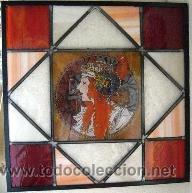 Vintage: Vidriera a modo catedrales, tecnica emplomado y con medio busto esmaltado en grisalla - Foto 2 - 39651731