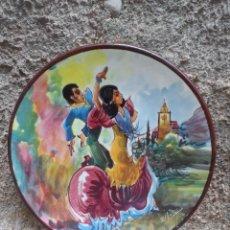 Vintage: PLATO CERAMICA FIRMADO BAILE FLAMENCO. Lote 39857375