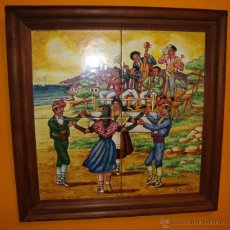Vintage: CUADRO CERAMICA DE 4 BALDOSA TEMA BAILE POPULAR SARDANA FIRMADO. Lote 40140376