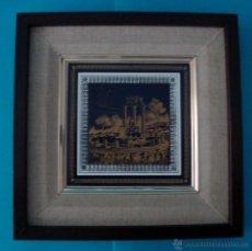 Vintage: AZULEJO RUINAS DEL TEMPLO GRIEGO DE ATENEA, ENMARCADO. Lote 40154175
