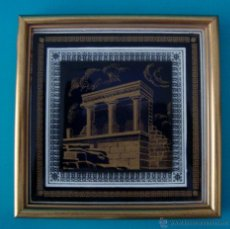 Vintage: AZULEJO RUINAS DEL TEMPLO GRIEGO DE CORINTO, ENMARCADO. Lote 40154222