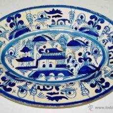 Vintage: ANTIGUA BANDEJA DE CERAMICA PORTUGUESA - NO FIGURA MARCA - MIDE 33X24 CMS - CON ALGUN DESPERFECTO.. Lote 38245031