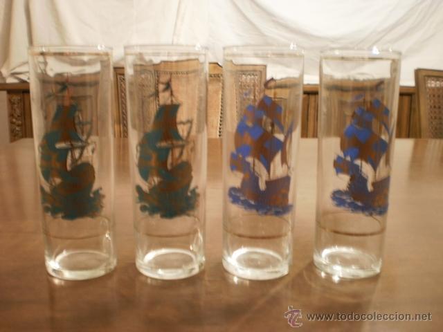 4 VASOS ALTOS- MOTIVOS BARCOS (Vintage - Decoración - Cristal y Vidrio)