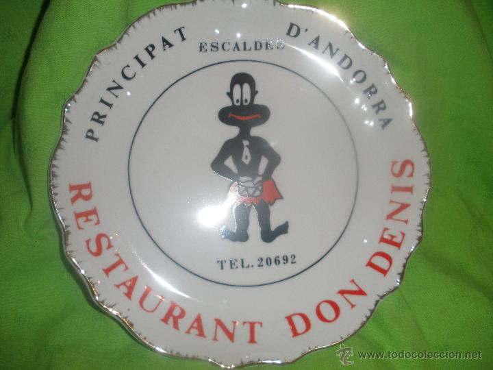 CURIOSO PLATO DECORATIVO.PRINCIPAT-ESCALDES D´ANDORRA.RESTAURANTE DON DENIS. (Vintage - Decoración - Porcelanas y Cerámicas)