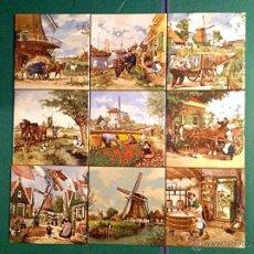 Vintage: AZULEJOS ARTESANAL DE DECORACIÓN NUEVE FIRMADOS / TER STEEGE PAISAJE DE HOLANDA. Lote 41096346
