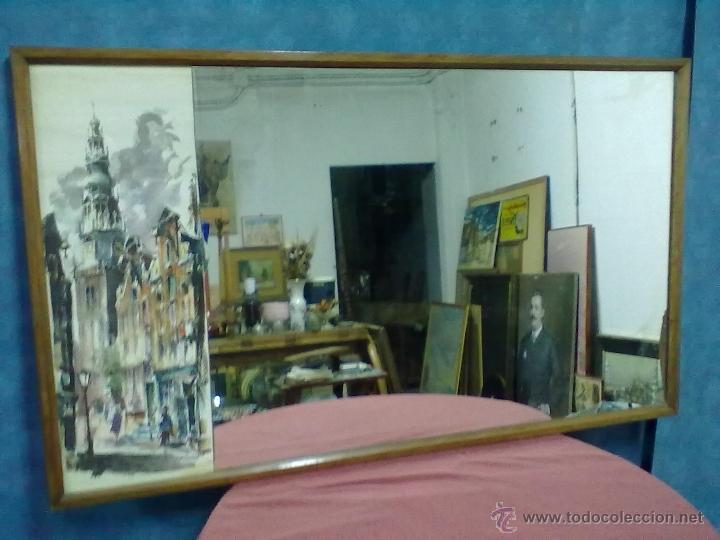 ESPEJO ENMARCADO CON LAMINA IMPRESA R. SNAPPER (Vintage - Decoración - Cristal y Vidrio)
