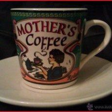 Vintage: TAZA Y PLATITO VINTAGE PINTADO A MANO - MOTHER'S COFFEE -. Lote 94364250