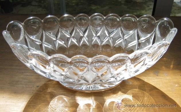 IMPORTANTE CENTRO DE MESA GONDOLA CRISTAL 26,5 X 10,5 CM... MUY PESADO (Vintage - Decoración - Cristal y Vidrio)
