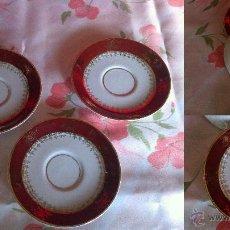 Vintage: 3 PLATOS DE CAFÉ DE PORCELANA C.P. LIMOGES DECORADA EN ORO DE LEY. Lote 42020144