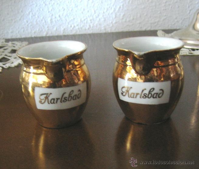 Vintage: 2 Jarritas de porcelana dorada de Babaria- Karlsbad- antiguas.Ya no se encuentran. - Foto 2 - 42405001