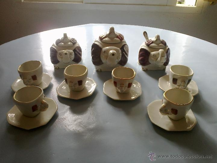 JUEGO CAFE 6 SERVICIOS . ELEFANTES (Vintage - Decoración - Porcelanas y Cerámicas)