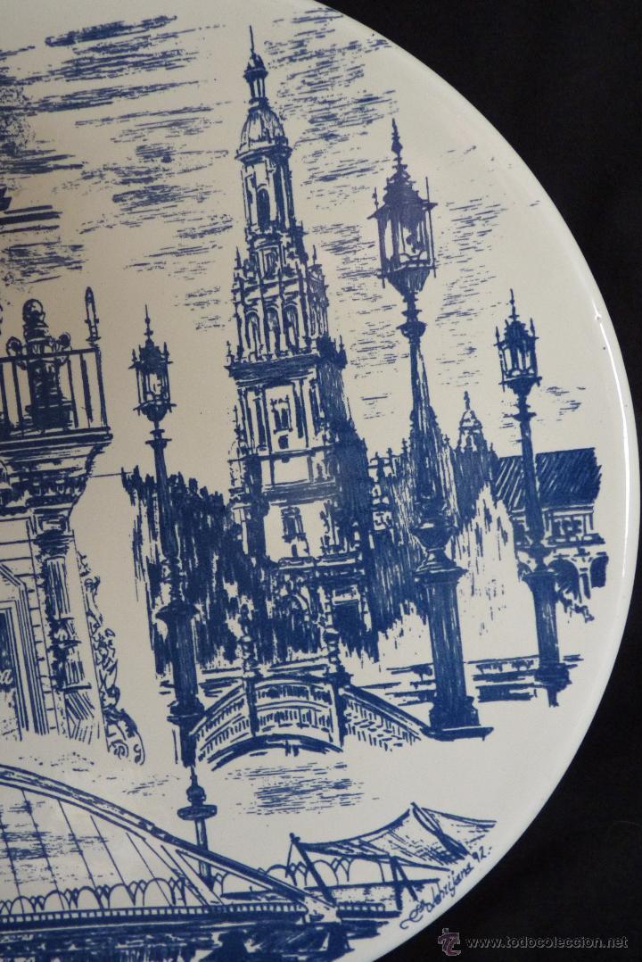 Vintage: PRECIOSO PLATO DE CERÁMICA, GIRALDA DE SEVILLA, RECUERDO EXPO 92 - Foto 3 - 42573960
